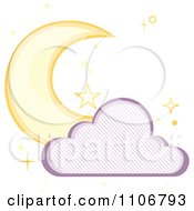 Crescent Moon And Cloud With A Line Pattern And Stars On White