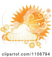 Clipart Retro Orange Cloud Circle Floral And Burst Frame Royalty Free Vector Illustration by Amanda Kate