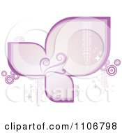 Clipart Retro Purple Frame With Flourishes Circles Sparkles And Halftone Royalty Free Vector Illustration by Character Market