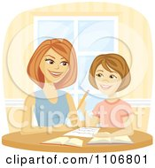Clipart Happy Mother Homeschooling Her Daughter And Helping Her Do Homework Royalty Free Vector Illustration