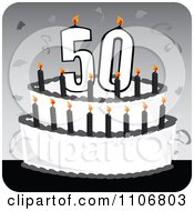 Clipart Black And White 50th Birthday Cake With Candles And Confetti On A Gray Square Royalty Free Vector Illustration