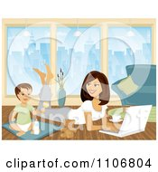Clipart Toddler Playing By His Mom As She Works From Home On A Laptop Royalty Free Vector Illustration