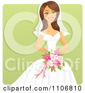 Happy Brunette Bride Holding A Pink Bouquet Over A Green Square