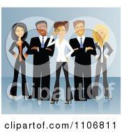 Clipart Diverse Business Team Of Men And Women Standing In V Formation Over Blue Royalty Free Vector Illustration by Character Market