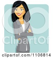 Clipart Happy Professional Asian Business Woman With Folded Arms Over A Blue Square Royalty Free Vector Illustration