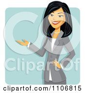 Clipart Happy Presenting Professional Asian Business Woman Over A Blue Square Royalty Free Vector Illustration