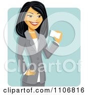 Clipart Happy Professional Asian Businesswoman Holding A Business Card Over A Blue Square Royalty Free Vector Illustration by Amanda Kate