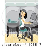 Clipart Happy Asian Businesswoman Working At A Desk In Her Office Royalty Free Vector Illustration by Amanda Kate #COLLC1106817-0177