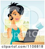 Clipart Happy Asian Business Woman Talking On A Cell Phone And Using A Laptop Computer Royalty Free Vector Illustration by Amanda Kate
