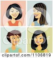 Clipart Happy Asian Women Avatars Royalty Free Vector Illustration