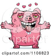 Clipart Amorous Ugly Pig Royalty Free Vector Illustration by Cory Thoman