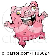 Clipart Jumping Ugly Pig Royalty Free Vector Illustration by Cory Thoman