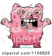 Clipart Angry Ugly Pig Royalty Free Vector Illustration