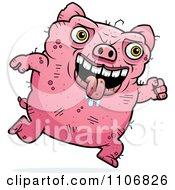 Clipart Running Ugly Pig Royalty Free Vector Illustration