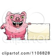 Clipart Ugly Pig With A Sign Royalty Free Vector Illustration by Cory Thoman