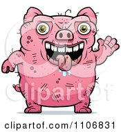 Clipart Waving Ugly Pig Royalty Free Vector Illustration