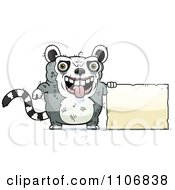 Clipart Ugly Lemur With A Sign Royalty Free Vector Illustration by Cory Thoman