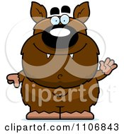 Clipart Waving Pudgy Werewolf Royalty Free Vector Illustration by Cory Thoman