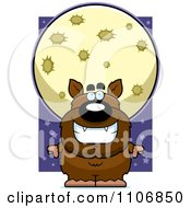 Clipart Pudgy Werewolf Under A Full Moon Royalty Free Vector Illustration