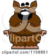 Clipart Depressed Pudgy Werewolf Royalty Free Vector Illustration by Cory Thoman