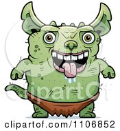 Clipart Pudgy Green Gremlin Royalty Free Vector Illustration