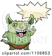 Clipart Talking Pudgy Green Gremlin Royalty Free Vector Illustration by Cory Thoman