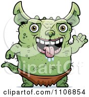 Clipart Waving Pudgy Green Gremlin Royalty Free Vector Illustration by Cory Thoman