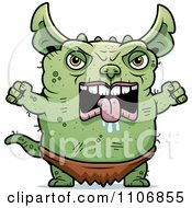 Clipart Angry Pudgy Green Gremlin Royalty Free Vector Illustration by Cory Thoman