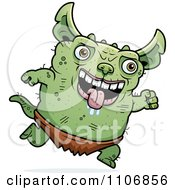 Clipart Running Pudgy Green Gremlin Royalty Free Vector Illustration by Cory Thoman