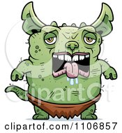 Clipart Depressed Pudgy Green Gremlin Royalty Free Vector Illustration by Cory Thoman