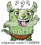 Clipart Confused Pudgy Green Gremlin Royalty Free Vector Illustration by Cory Thoman