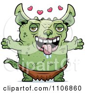 Clipart Amorous Pudgy Green Gremlin Royalty Free Vector Illustration by Cory Thoman