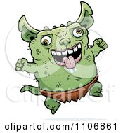 Clipart Jumping Pudgy Green Gremlin Royalty Free Vector Illustration by Cory Thoman