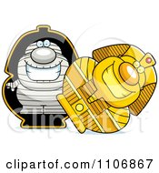 Clipart Pudgy Mummy In A Sarcophagus Royalty Free Vector Illustration