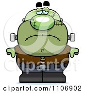 Clipart Depressed Pudgy Frankenstein Royalty Free Vector Illustration by Cory Thoman