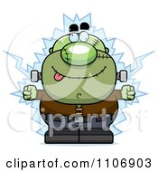 Clipart Pudgy Frankenstein Getting Shocked Royalty Free Vector Illustration