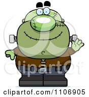 Clipart Waving Pudgy Frankenstein Royalty Free Vector Illustration by Cory Thoman