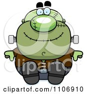 Clipart Sitting Pudgy Frankenstein Royalty Free Vector Illustration by Cory Thoman