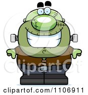 Clipart Happy Pudgy Frankenstein Royalty Free Vector Illustration