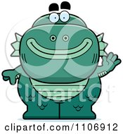 Clipart Waving Fish Man Monster Royalty Free Vector Illustration by Cory Thoman