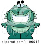 Clipart Happy Fish Man Monster Royalty Free Vector Illustration by Cory Thoman