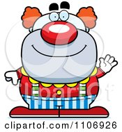 Clipart Waving Pudgy Circus Clown Royalty Free Vector Illustration