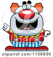 Clipart Pudgy Circus Clown With An Idea Royalty Free Vector Illustration