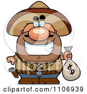 Hispanic Bandit Holding A Money Bag