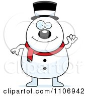 Clipart Waving Pudgy Snowman Royalty Free Vector Illustration