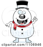 Clipart Pudgy Snowman With An Idea Royalty Free Vector Illustration