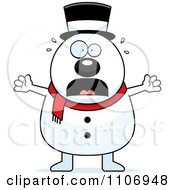 Clipart Stressed Pudgy Snowman Royalty Free Vector Illustration by Cory Thoman