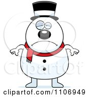 Clipart Depressed Pudgy Snowman Royalty Free Vector Illustration by Cory Thoman