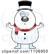 Clipart Shrugging Careless Pudgy Snowman Royalty Free Vector Illustration by Cory Thoman