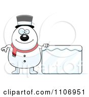 Clipart Pudgy Snowman With An Ice Sign Royalty Free Vector Illustration